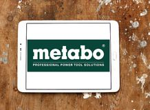 Metabo Power Tools company logo. Logo of Metabo Power Tools company on samsung tablet on wooden background. Metabo is a manufacturer of high quality power tools royalty free stock photography