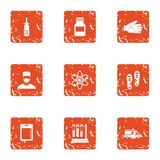 Metabolic icons set, grunge style. Metabolic icons set. Grunge set of 9 metabolic vector icons for web isolated on white background Royalty Free Stock Images