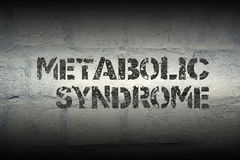 Metabolic syndrome gr. Metabolic syndrome phrase stencil print on the grunge white brick wall Stock Photography
