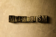 METABOLISM - close-up of grungy vintage typeset word on metal backdrop Stock Images