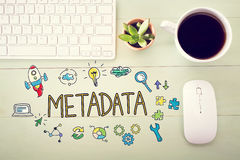 Metadata concept with workstation Royalty Free Stock Image