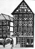 A metade alemão suportou casas com uma casa do café Foto de Stock