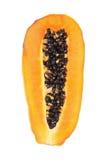 a metade cortou a papaia isolada no branco Imagens de Stock Royalty Free