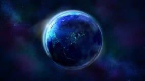 A metade da noite da terra do espaço que mostra Ásia, Austrália e Oceania fotografia de stock royalty free