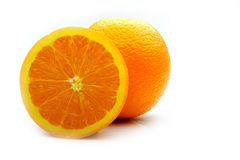 Metade de uma laranja com casca imagens de stock royalty free