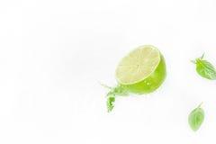 Metade do cal com gotas das folhas e da água do verde Imagem de Stock