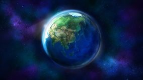 A metade do dia da terra do espaço que mostra Ásia, Austrália e Oceania imagem de stock royalty free