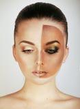 A metade enfrentou a mulher antes de bronzear-se e após, criativo compõe Imagem de Stock Royalty Free