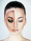A metade enfrentou a mulher antes de bronzear-se e após, criativo compõe Fotografia de Stock