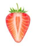 A metade isolada da morango com coração deu forma ao núcleo imagens de stock royalty free
