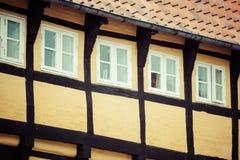 A metade suportou a casa tradicional no ribe Dinamarca Fotos de Stock Royalty Free