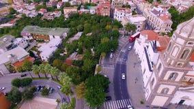 Metadi Sorrento, comune in de Provincie van Napels, reis, hotels, weg en vervoer, mooie panoramaantenne stock footage