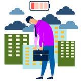 Metafoor van mensenmoeheid, zakenmanoverwerken in minimalistische stijl Beeldverhaalvector royalty-vrije illustratie