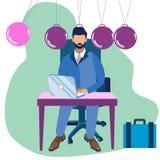 Metafoor van Newtons-wieg in minimalistische stijl Het zakenmanhoofd vervangt één Vector van het balbeeldverhaal stock illustratie