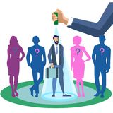Metafoor van werknemersonderzoek in minimalistische stijl de beste manier Beeldverhaalvector stock illustratie