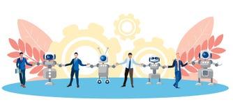 Metafor av kamratskap, samarbete av folk och teknologi Kedja av människan och robotar I minimalist stil plant stock illustrationer
