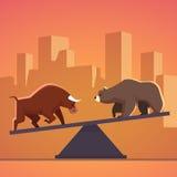 Metafor för aktiemarknadtjur- och björnstrid Royaltyfria Bilder