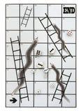 Metafora biznesowi węże i drabiny, wiele kostka do gry zdjęcie royalty free