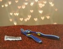 Metafora blu di rappresentazione dello spazzolino da denti delle coppie gay di LGBT immagini stock libere da diritti
