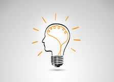 Metafora della lampadina per la buona idea Fotografia Stock Libera da Diritti