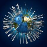 Metaforisch beeld betreffende globale voedselmiddelen vector illustratie
