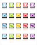 MetaGlass Icons Media (Vector). Glassy, metallic colorful Media icons-easy to edit. No transparencies Royalty Free Stock Photo