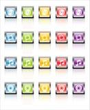 MetaGlass Icons Media (Vector). Glassy, metallic colorful Media icons-easy to edit. No transparencies stock illustration