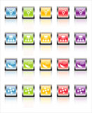 MetaGlass Icons Network (Vecto. Glassy, metallic colorful Network icons-easy to edit. No transparencies Royalty Free Stock Photography