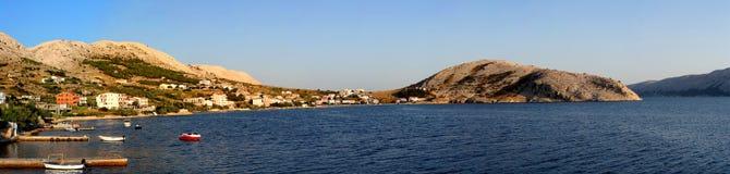 Metajna - day panorama. Stitched Panorama - Metajna (Novalja) on the Croatian island of Pag Royalty Free Stock Image
