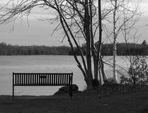 Metal ławka na nabrzeżu jezioro Obraz Stock