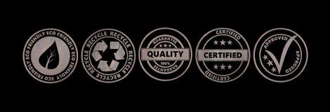 Metal вокруг значков с вырезом изолированным текстом на черной предпосылке, знамени иллюстрация 3d иллюстрация штока