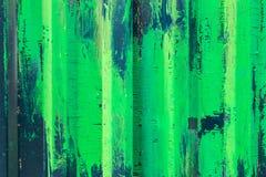 Metal загородка с зеленой и белой краской, предпосылкой, текстурой Стоковые Изображения RF