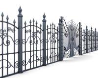 Metal загородка и строб на белой предпосылке, угол взгляда rende 3D Стоковое Изображение RF