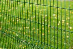 Metal зеленая загородка на предпосылке листьев травы и желтого цвета Стоковое Изображение