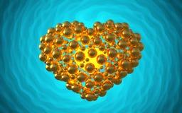 metal золотое сердце сделанное сфер с отражениями на инволютной яркой предпосылке Счастливая иллюстрация дня валентинок 3d Стоковые Фото