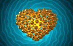 metal золотое сердце сделанное сфер с отражениями на инволютной яркой предпосылке Счастливая иллюстрация дня валентинок 3d Стоковые Изображения