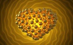 metal золотое сердце сделанное сфер с отражениями на инволютной яркой предпосылке Счастливая иллюстрация дня валентинок 3d Стоковое Изображение RF