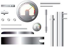 Metal измеряя элементы и трубы - комплект - вектор Стоковое Изображение