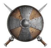 Metal изолированная иллюстрация экрана крестоносцев 2 пересеченная шпаг 3d и иллюстрация вектора