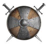 Metal изолированная иллюстрация экрана крестоносцев 2 пересеченная шпаг 3d и бесплатная иллюстрация