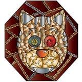 Metal иллюстрация вектора кота абстрактная на темной предпосылке Стоковое Изображение