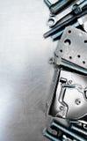 Metal инструменты и элементы отладки на поцарапанное Стоковые Изображения