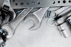 Metal инструменты и элементы отладки на поцарапанное Стоковые Фото