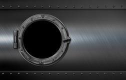 Metal иллюстрация окна 3d иллюминатора подводной лодки или корабля стоковое фото rf