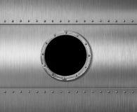 Metal иллюстрация окна 3d иллюминатора подводной лодки или космического корабля иллюстрация вектора
