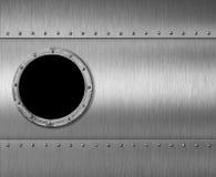Metal иллюстрация окна 3d иллюминатора подводной лодки или ракеты иллюстрация вектора
