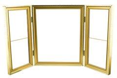 Metal картинная рамка золота для wedding или фотографии семьи изолированная на белизне Стоковое Фото