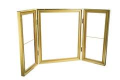 Metal картинная рамка золота для wedding или фотографии семьи изолированная на белизне Стоковое Изображение