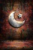 Metal карточка kareem ramadan с луной и звездой Стоковая Фотография
