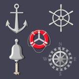 Metal колесо ` s корабля, колокол шлюпки, лимб картушки компаса, анкер и lifebuoy иллюстрация вектора